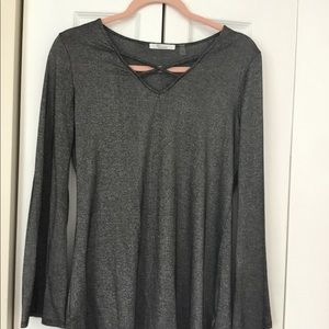 89th and MADISON black shimmer dressy top